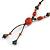Long Orange/ Teal Ceramic Bead Tassel Necklace with Brown Cotton Cord - 80cm L/ 10cm Tassel - view 7