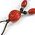 Long Orange/ Teal Ceramic Bead Tassel Necklace with Brown Cotton Cord - 80cm L/ 10cm Tassel - view 4