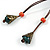 Long Orange/ Teal Ceramic Bead Tassel Necklace with Brown Cotton Cord - 80cm L/ 10cm Tassel - view 8