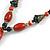 Long Orange/ Teal Ceramic Bead Tassel Necklace with Brown Cotton Cord - 80cm L/ 10cm Tassel - view 9