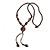 Long Brown Ceramic Bead Tassel Necklace with Silk Cotton Cord - 80cm L/ 10cm Tassel