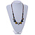 Multi Ceramic Bead Brown Cord Necklace (Dusty Yellow, Grey, Blue) - 60cm to 80cm (Adjustable) - view 2
