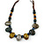 Multi Ceramic Bead Brown Cord Necklace (Dusty Yellow, Grey, Blue) - 60cm to 80cm (Adjustable) - view 3