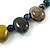 Multi Ceramic Bead Brown Cord Necklace (Dusty Yellow, Grey, Blue) - 60cm to 80cm (Adjustable) - view 5