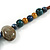 Multi Ceramic Bead Brown Cord Necklace (Dusty Yellow, Grey, Blue) - 60cm to 80cm (Adjustable) - view 6