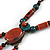 Vintage Inspired Coral/ Teal Ceramic Bead Tassel Brown Silk Cord Necklace - 58cm Long - view 5