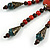 Vintage Inspired Coral/ Teal Ceramic Bead Tassel Brown Silk Cord Necklace - 58cm Long - view 6