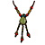 Vintage Inspired Olive Green/ Red Ceramic Bead Tassel Brown Silk Cord Necklace - 58cm Long - view 3
