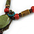 Vintage Inspired Olive Green/ Red Ceramic Bead Tassel Brown Silk Cord Necklace - 58cm Long - view 6