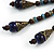 Vintage Inspired Blue Ceramic Bead Tassel Brown Silk Cord Necklace - 58cm Long - view 5