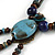 Vintage Inspired Blue Ceramic Bead Tassel Brown Silk Cord Necklace - 58cm Long - view 6