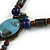 Vintage Inspired Blue Ceramic Bead Tassel Brown Silk Cord Necklace - 58cm Long - view 8