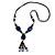 Long Blue, Black Ceramic Bead Tassel Black Silk Cord Necklace - 66cm to 80cm Long (Adjustable)