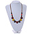 Multi Ceramic Bead Brown Cord Necklace (Dusty Yellow, Red, Green) - 60cm to 80cm (Adjustable) - view 2