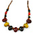 Multi Ceramic Bead Brown Cord Necklace (Dusty Yellow, Red, Green) - 60cm to 80cm (Adjustable) - view 3