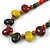 Multi Ceramic Bead Brown Cord Necklace (Dusty Yellow, Red, Green) - 60cm to 80cm (Adjustable) - view 4