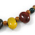 Multi Ceramic Bead Brown Cord Necklace (Dusty Yellow, Red, Green) - 60cm to 80cm (Adjustable) - view 5