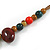 Multi Ceramic Bead Brown Cord Necklace (Dusty Yellow, Red, Green) - 60cm to 80cm (Adjustable) - view 6