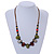 Multi Ceramic Bead Brown Cord Necklace (Dusty Green, Red, Dusty White) - 60cm to 80cm (Adjustable) - view 2