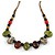 Multi Ceramic Bead Brown Cord Necklace (Dusty Green, Red, Dusty White) - 60cm to 80cm (Adjustable) - view 3
