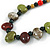 Multi Ceramic Bead Brown Cord Necklace (Dusty Green, Red, Dusty White) - 60cm to 80cm (Adjustable) - view 4