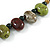 Multi Ceramic Bead Brown Cord Necklace (Dusty Green, Red, Dusty White) - 60cm to 80cm (Adjustable) - view 5