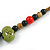 Multi Ceramic Bead Brown Cord Necklace (Dusty Green, Red, Dusty White) - 60cm to 80cm (Adjustable) - view 6