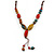 Long Dusty Yellow/ Blue/ Red/ Brown Ceramic Bead Tassel Cord Necklace - 60cm to 80cm Long (Adjustable) - view 3