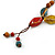 Long Dusty Yellow/ Blue/ Red/ Brown Ceramic Bead Tassel Cord Necklace - 60cm to 80cm Long (Adjustable) - view 4