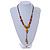 Long Dusty Yellow/ Brown Ceramic Bead Tassel Cord Necklace - 60cm to 80cm Long (Adjustable) - view 2