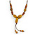 Long Dusty Yellow/ Brown Ceramic Bead Tassel Cord Necklace - 60cm to 80cm Long (Adjustable) - view 3