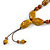 Long Dusty Yellow/ Brown Ceramic Bead Tassel Cord Necklace - 60cm to 80cm Long (Adjustable) - view 4