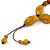 Long Dusty Yellow/ Brown Ceramic Bead Tassel Cord Necklace - 60cm to 80cm Long (Adjustable) - view 5