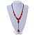 Long Red/ Brown Ceramic Bead Tassel Cord Necklace - 60cm to 80cm Long (Adjustable) - view 2