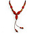 Long Red/ Brown Ceramic Bead Tassel Cord Necklace - 60cm to 80cm Long (Adjustable) - view 3