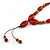 Long Red/ Brown Ceramic Bead Tassel Cord Necklace - 60cm to 80cm Long (Adjustable) - view 4