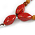 Long Red/ Brown Ceramic Bead Tassel Cord Necklace - 60cm to 80cm Long (Adjustable) - view 5