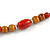 Long Red/ Brown Ceramic Bead Tassel Cord Necklace - 60cm to 80cm Long (Adjustable) - view 6