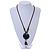 Handmade Blue Ceramic Bead Tassel Brown Silk Cord Necklace - 80cm Long/ 9cm Tassel - view 2
