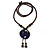 Handmade Blue Ceramic Bead Tassel Brown Silk Cord Necklace - 80cm Long/ 9cm Tassel - view 6