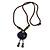 Handmade Blue Ceramic Bead Tassel Brown Silk Cord Necklace - 80cm Long/ 9cm Tassel - view 7