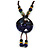 Handmade Blue Ceramic Bead Tassel Brown Silk Cord Necklace - 80cm Long/ 9cm Tassel