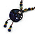 Handmade Blue Ceramic Bead Tassel Brown Silk Cord Necklace - 80cm Long/ 9cm Tassel - view 3