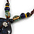 Handmade Blue Ceramic Bead Tassel Brown Silk Cord Necklace - 80cm Long/ 9cm Tassel - view 4