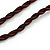Handmade Blue Ceramic Bead Tassel Brown Silk Cord Necklace - 80cm Long/ 9cm Tassel - view 5