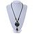 Handmade Green, Blue, Black Ceramic Bead Tassel Green Silk Cord Necklace - 80cm Long/ 9cm Tassel - view 2