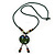 Handmade Green, Blue, Black Ceramic Bead Tassel Green Silk Cord Necklace - 80cm Long/ 9cm Tassel - view 4