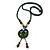 Handmade Green, Blue, Black Ceramic Bead Tassel Green Silk Cord Necklace - 80cm Long/ 9cm Tassel - view 5