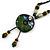 Handmade Green, Blue, Black Ceramic Bead Tassel Green Silk Cord Necklace - 80cm Long/ 9cm Tassel - view 3