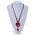Handmade Red, Brown, Black Ceramic Bead Tassel Brown Silk Cord Necklace - 80cm Long/ 9cm Tassel - view 2